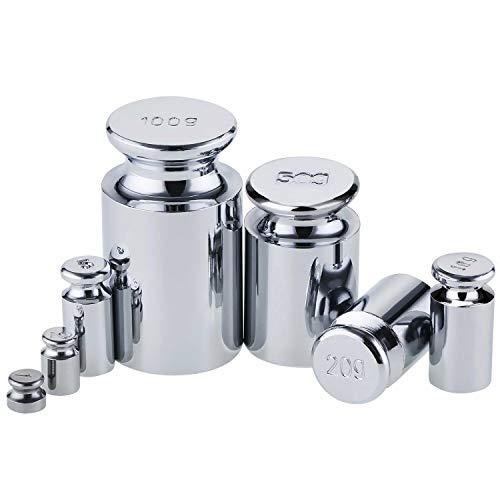 Be- Tool - Juego de pesas para calibración de balanza de precisión, de 100 y 200 gramos, para báscula de joyería digital, laboratorio general y uso educativo, plateado