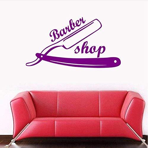 Muursticker Man Razor Barber Shop Sticker Naam Hak Brood Decal Haarknippers Posters Vinyl Wall Art Decals Decor Windows 31X58Cm
