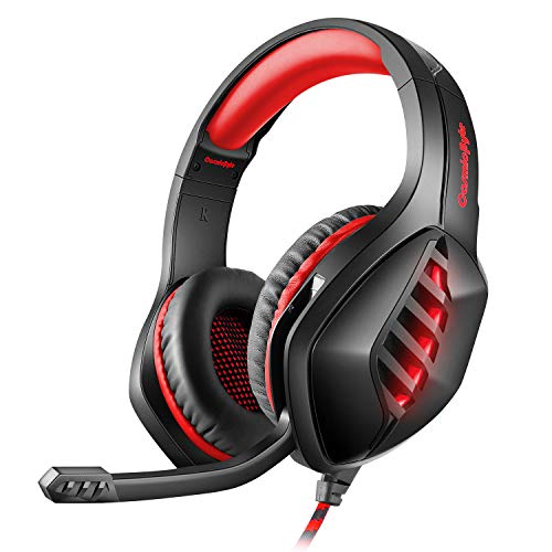 Cosmic Byte GS430 Gaming Headphone, 7 Color RGB LED and Microphone for PC, PS5, Xbox, Mobiles, Tablets, Laptops (Red)