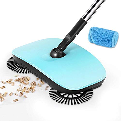 3 in 1 Hand Push Home Sweeper Bezem - 360° Roterende Reinigingsborstel - Stofzuigerset - Thuis Vloerreiniging Blauw