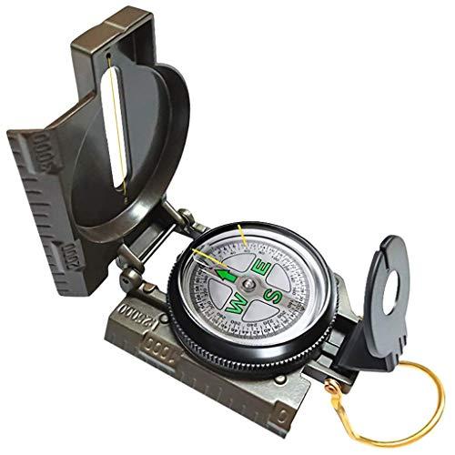 WYJW kompas, multifunctioneel, draagbaar kompas, inklapbare lens, outdoor gereedschap voor survival, avontuur, wandelen, kamperen, outdoor, gereedschap, navigatie (kleur: legergroen)