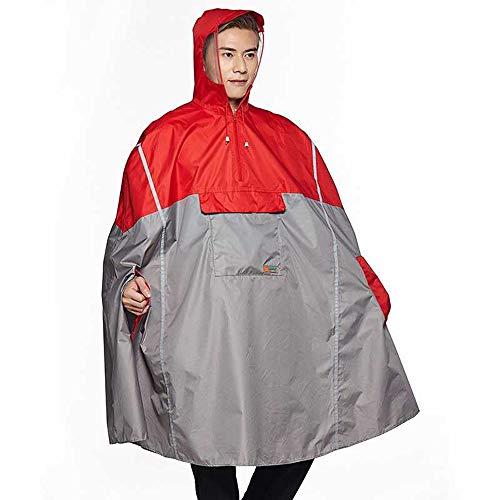 Leichter Fahrrad-Regenponcho mit Kapuze und Reflektorstreifen, Unisex-Erwachsene, rot, One size fit for all