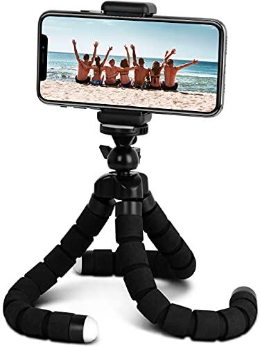 ONEFLOW Octopod - Mini treppiede per cellulare, con giunto sferico a 360 gradi, supporto per smartphone, Action Cam, fotocamera e proiettore fino a 1,6 kg, treppiede con filettatura 1/4', colore: Nero