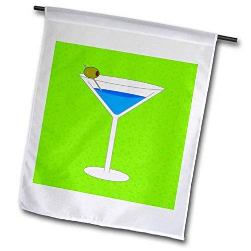 3dRose FL_57111_2 Gartenflagge Bright Blue Martini im Glas mit olivgrünem Hintergrund, 45,7 x 68,6 cm