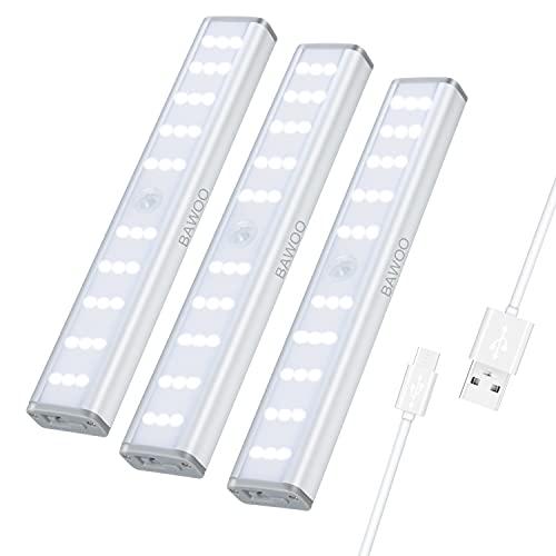 Luci LED Per Armadio con sensore di movimento 3 luce armadio Ricaricabile USB Luce Notte LED Con Striscia Magnetica Adesiva,Senza Fili,Per Armadi,Scale, Pensili,Dispense,Corridoio,Cucina,Bianco Freddo