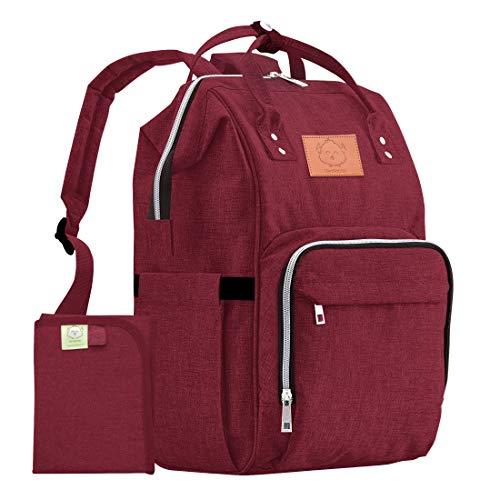 KeaBabies große Rucksack-Wickeltasche - Wasserbeständiger Multifunktions-Babyrucksack-Wickeltasche für Papa,Mama. Große Mutterschafts - Windeltbeutel (Weinrot)