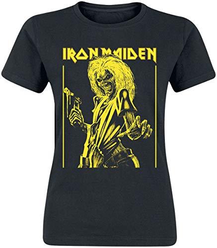Iron Maiden Yellow Flyer Mujer Camiseta Negro XL, 100% algodón, Regular