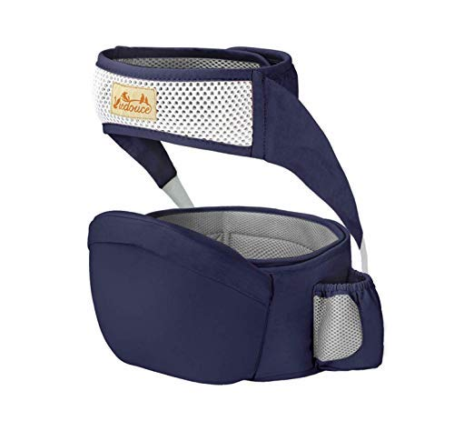 Viedouce Hipseat Marsupio con protezione per cintura di sicurezza,Puro Cotone Leggero e Traspirante,Ergonomico Neonati Marsupio Sicurezza Supporto per Bambino da 6-36 Mesi (Blu Scuro)