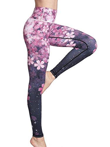 FLYILY Mallas Deportivas Mujer Pantalones impreso Leggings Deportes para Running Yoga Fitness Gym(2-Cherry,S)