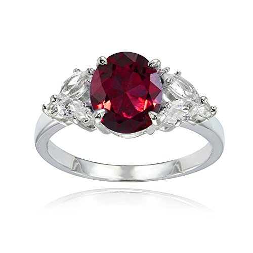 Ice Gems Sterling Silver Created Ruby and White Topaz Oval Ring Size 10