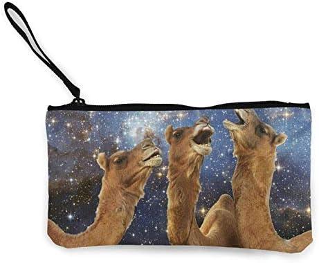 Llama patroon zet je rug in het rack Canvas Cash Coin portemonnee rits polsbandjes portemonnee portemonnee makeup tassen voor vrouwen en meisjes