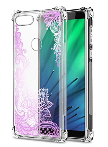 Oihxse Transparent Coque pour Xiaomi Redmi 5A Souple TPU Silicone Protection Etui Air Cushion [Shock-Absorption] [Anti-Rayures] Fleurs Motif Housse Bumper (B9)