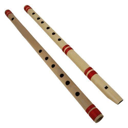 Indisches Bansuri-Bambus flöten set - Beinhaltet 2 Flöten: Blockflöte und Querflöte - Indische Musikinstrumente für den professionellen Gebrauch