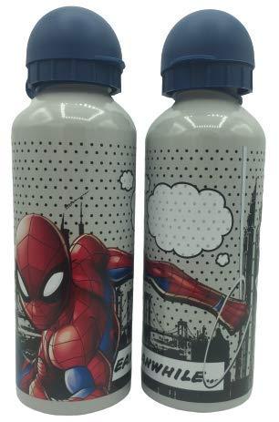 ML Una Botella de Agua de Aluminio, cantimplora a Prueba de Fugas sin BPA para Levar a la Escuela y Deportes el Termo 500ml para niños y niñas (Gris)