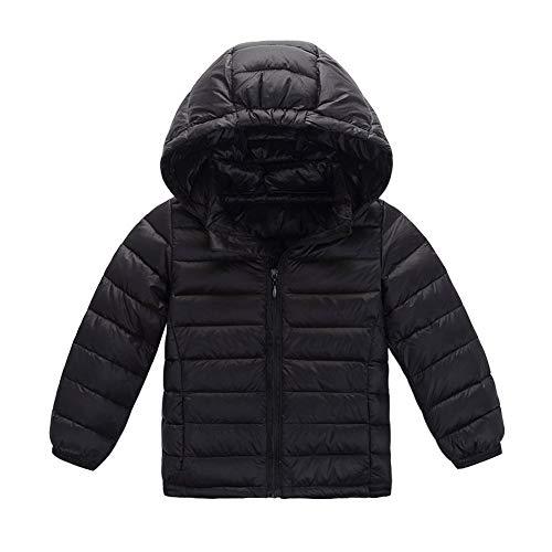 LSHEL Kinder Leichte Daunenjacke für Jungen Mädchen Steppjacke Daunenmantel mit Kapuze Wintermantel Oberbekleidung Übergangsjacke, schwarz, 164-170