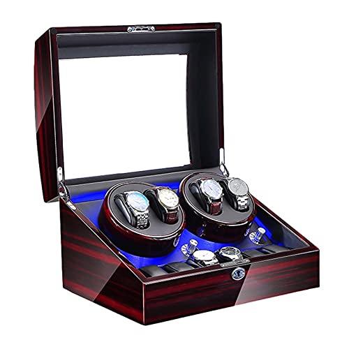 GUOYUN Winder Automático Winder 5 Configuración De Modo De Rotación Pantalla De Caja De Madera para Hombres Relojes para Mujer, Alimentado con Batería/C.A Adaptador (Color : Black, Size : 4+6)
