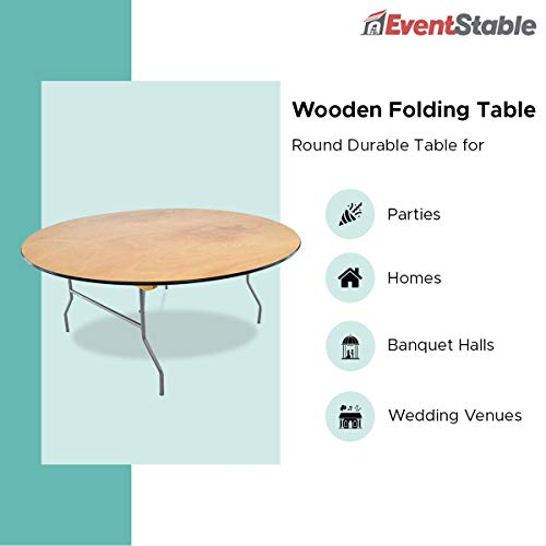 EventStable Titan Series Wood Folding Table - 60'' Round - 10 Pack