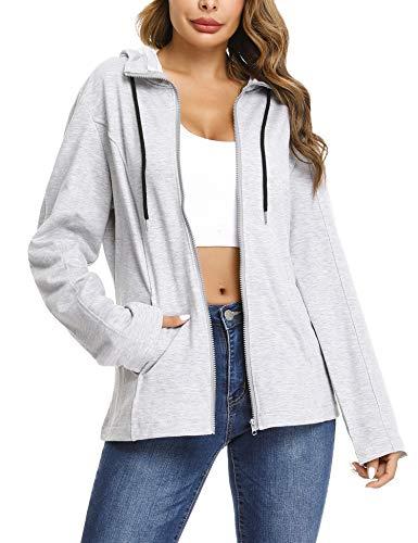 Aibrou Damen Kapuzenjacke/Sweatshirt-Jacke mit Kapuze - Grau M