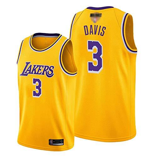 SHR-GCHAO Jersey De Baloncesto para Hombre, NBA Los Ángeles Lakers # 3 Anthony Davis Jersey, Ocio Suelto Transpirable Malla Rápida De Malla Chaleco Deportivo Camisa,Amarillo,XXL(185~190cm)