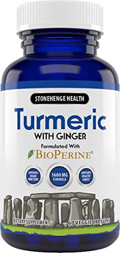 Stonehenge Health Turmeric Curcumin with Ginger - High Potency - 1,600 mg Turmeric with 95% Curcuminoids & BioPerine®. Supports Joint Pain & Inflammation, 60 Vegetarian Capsules (1)
