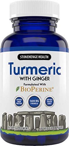 Stonehenge Health Turmeric Curcumin with Ginger - High Potency - 1,600 mg Turmeric with 95% Curcuminoids & BioPerine®. Supports Joint Pain & Inflammation, 60 Vegetarian Capsules (1)
