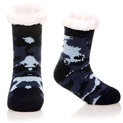 Kids Boys Girls Fuzzy Slipper Socks Soft Warm Thick Fleece lined Christmas Stockings For Child Toddler Winter Home Socks (Dark Blue Camouflage, 8-12 Years)