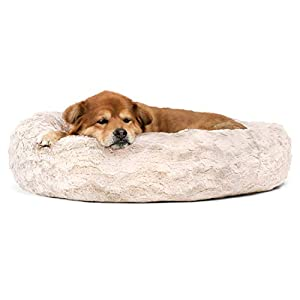 Best Friends by Sheri Calming Donut Cat and Dog Bed in Lux Fur, Machine Washable, Orthopedic Relief – Medium 30″X30″ in Oyster
