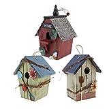 Baoblaze 3pcs Nichoir pour Oiseaux Suspendu Exterieur Maison en Bois Nid pour Oiseaux Moineau, Mésanges, Décoration Jardin Terrasse Balcon