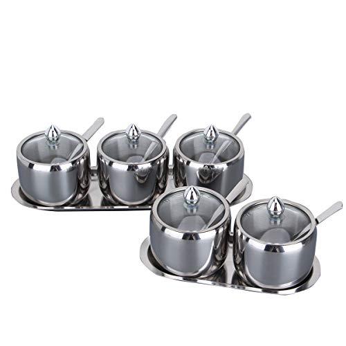 Stainless steel seasoning pot European type visible glass lid seasoning bottle salt pot seasoning rack kitchen supplies