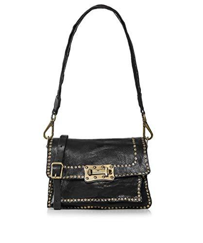 Campomaggi Damen Mittelleder besetzt E-Bag Tasche Schwarz Ein Größe