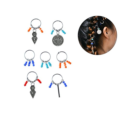 Frcolor Dreadlocks de cheveux de tresse ethnique colorée DIY Jewelry Loops Plait coiffure 7PCS