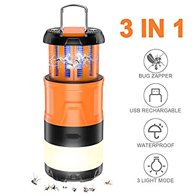 Sahara Sailor Camping Lantern with Bug Zapper, 3 in 1 Stretchable Led Lantern Camping Light - 5 Modes Brightness Camping Lamp- Rechargeable Lantern- Ideal Camping Accessories