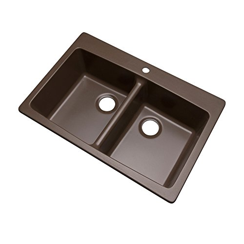 Dekor Sinks 89192Q Westwood Composite Granite Double Bowl Kitchen Sink with One Hole, 33-Inch, Mocha