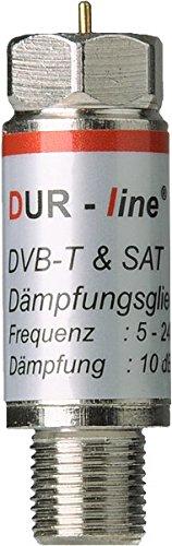 Dur-Line Dämpfungsglied 10 dB für Kabel- DVBT- und Satbereich mit exzellentem, linearem Frequenzgang