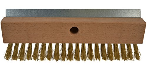 Janico 4004 Bristles Pizza Oven Stone Brush, Includes Rust Proof Steel Scraper, Stiff Brass Wire, Brown