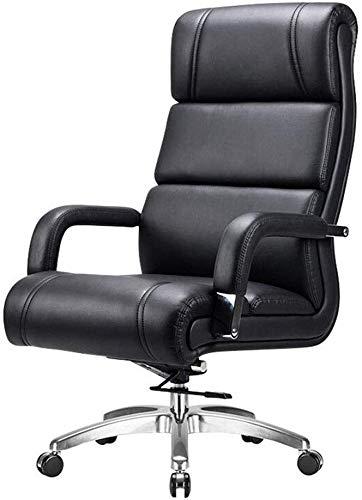 G.S.N. GSN Grad-Schwenker Schreibtisch Kippfunktion Pu Sitz mit hohem Rückenkaltschaum Füllung Stabilen Chrom-Basis moderner Optik Stoff, Stahl Sessel (Color : Black)