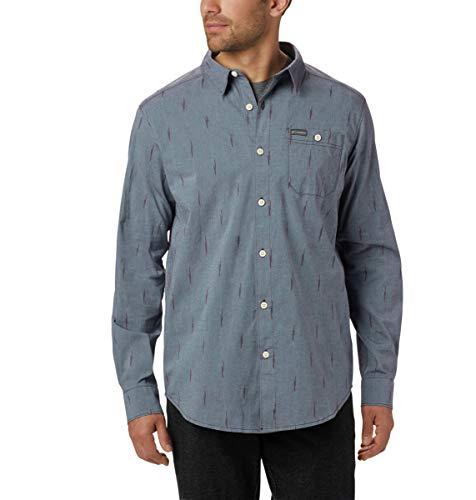 Columbia Men's Boulder Ridge Long Sleeve Shirt, Black Cherry Chambray Ikat, Large