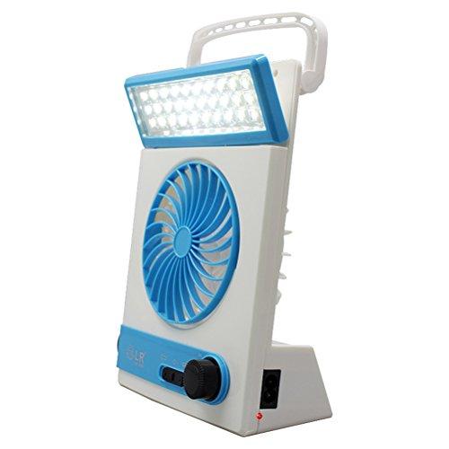 frcolor lámpara de mesa solar portátil de la lámpara de mesa de la lámpara la paleta multifuncional la lámpara de mesa portátil para el camping doméstico (Azul)