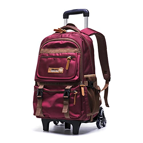 XWWS Wheeled Backpack - Waterproof Trolley School Bags, Removable Rolling Travelling Book Bag for Boys, Best Gift,Red