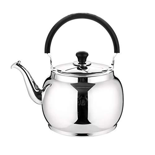 Stove Top Whistling Tea Kettle, thee potten voor koken, zwanenhals Coffee Ketel geborsteld roestvrij staal Stovetop Fluitketel, Grote capaciteit Theepot 6L,5L