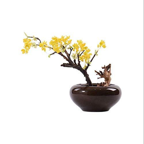 GHJA Flores Artificiales Zen Chino Arte de Tallado de raíz de bonsái Artificial, Hotel Villa Decoración del hogar, Flor Artificial Artificial Maceta de Flores Falsas Centros de Mesa