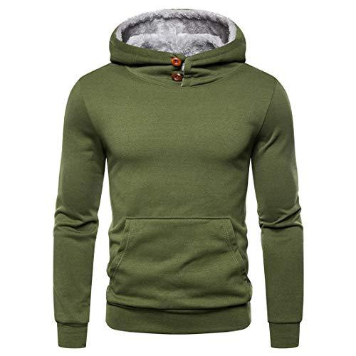 Men's Hoodie Pullover Long Sleeves Plus Fleece Sweatshirt Button Up Warm Casual Thicken Tops Solid Color Comfortable Sweatshirt Autumn Winter Outdoor Work Tops L