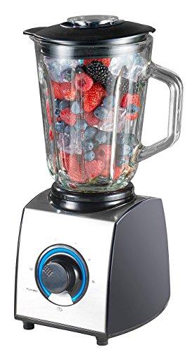 Rosenstein & Söhne Küchenmixer: Glas-Standmixer, 6 Klingen, 7 Modi, Ice Crush, 600W, 1,5l, Profi-Clean (Standmixer mit Pulse Funktionen)