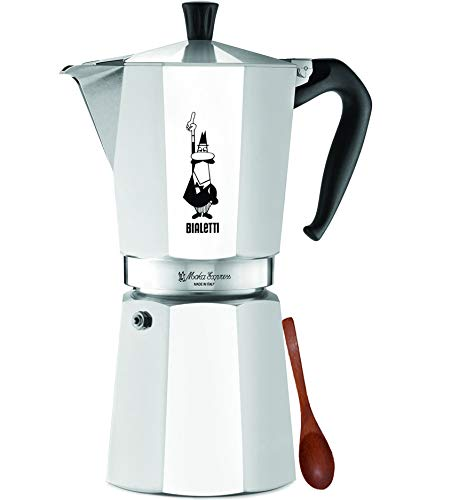Original Bialetti 12-Espresso Cup Moka Express | Espresso Maker Machine and Zonoz Wooden Small Espresso Stirring Spoon Bundle (12-cup, 25 fl oz, 775 ml)