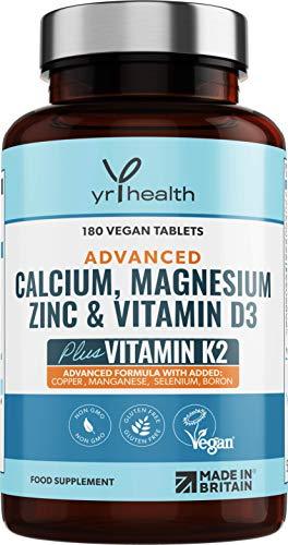 Calcium, Magnesium, Zinc and Vitamin D Plus Vitamin K2 MK-7 Tablets - Osteo Supplement - Vegan Tablets not Capsules 180 Count - Made in The UK by YrHealth