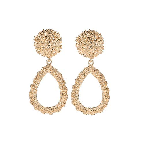 LUOSI Clip On Earrings For Women Gold Silver Color Geometric Big Earrings Metal Statement Vintage Ear Clips (Metal Color : Gold)