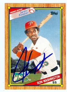Autograph Warehouse 61416 Ron Washington Autographed Baseball Card 1989 Topps Senior League No. 44 Twins Rangers Legend