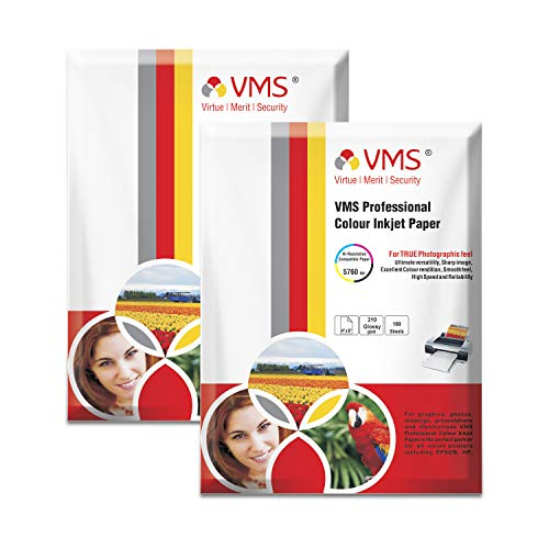 VMS Professional 210 GSM 4R (4 x 6) Photo Paper High Glossy – Pack of 2 (200 Sheets)