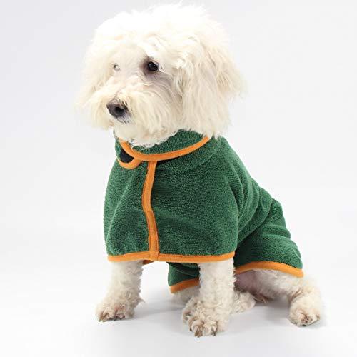 PETTOM Hundebademantel Mikrofaser Badetuch Hund Bademantel für Kleine Mittlere und Große Hunde, M