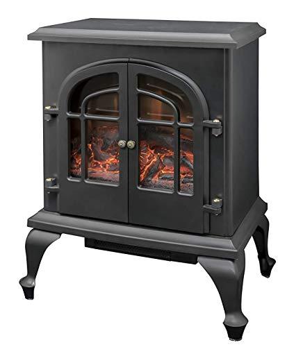 [山善] 暖炉型ヒーター 疑似炎 照度調整機能付き アンティーク ブラック YDH-SL10P(B) [メーカー保証1年]